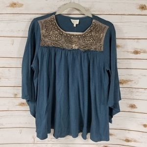 [Anthro] Deletta teal embellished bell sleeve top